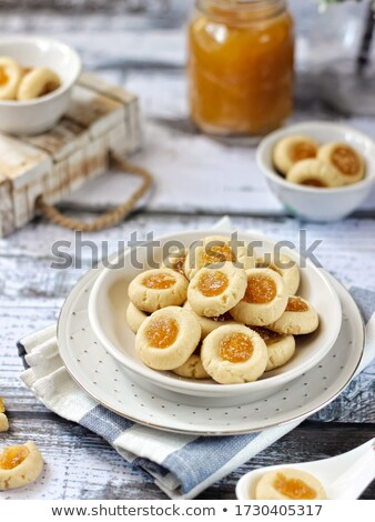 Knapperig cookies jam granen houten kleur Stockfoto © aladin66