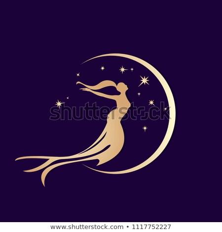 Beautiful golden mermaid and moonlight, vector illustration Stock photo © carodi
