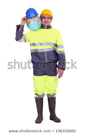 Manual worker stood with globe stock photo © photography33