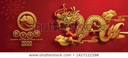 Kínai sárkány papír vág arany piros illusztráció Stock fotó © davidgn