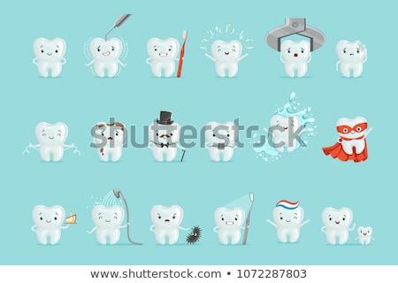 feliz · dente · desenho · animado · cara · medicina · pessoa - foto stock © dagadu