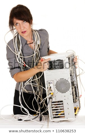 女性 ビジネス女性 殺す コンピュータ 幸せ ケーブル ストックフォト © smithore