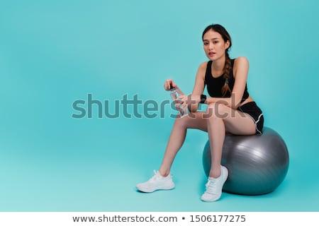 fitness · vrouw · poseren · training · veldfles · handdoek - stockfoto © stockyimages