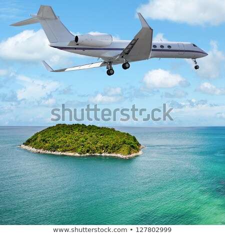 Сток-фото: Private Jet Over The Tropical Island Square Composition