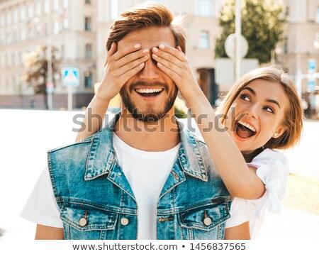Vrouw ogen handen gezicht man witte Stockfoto © photography33