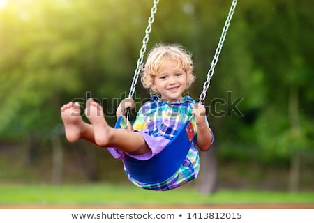 Swing rouge slide isolé blanche enfant Photo stock © smuki