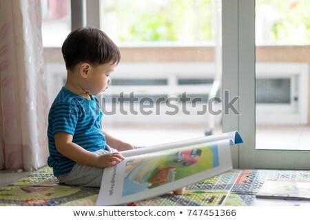 азиатских мальчика профиль синий рубашку Сток-фото © KMWPhotography