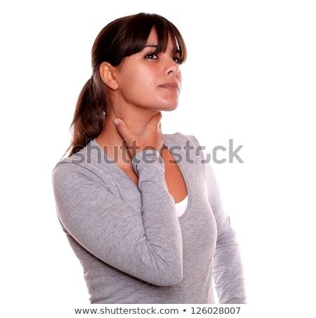 疲労 · 小さな · 女性 · ひどい · 喉 · 痛み - ストックフォト © pablocalvog