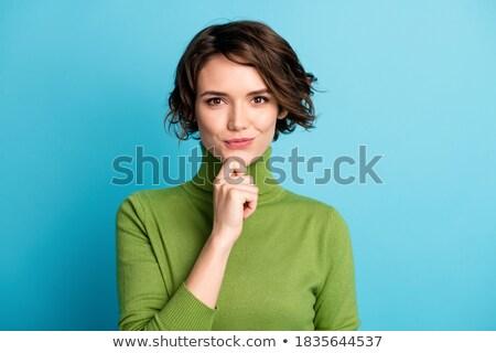 Mooie vrouw naar nadenkend hand kin witte Stockfoto © wavebreak_media