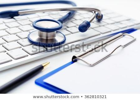 stethoscoop · zwarte · toetsenbord · Blauw · moderne - stockfoto © stockyimages
