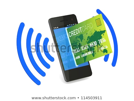 smartphone with near field communication nfc showing a credit stock photo © redpixel