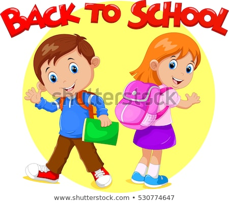 Stock photo: Little girl with school bag and books, vector illustration