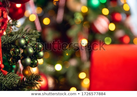 christmas decoration macro details red and white stock photo © lunamarina