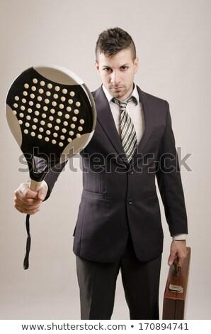 biznesmen · tie · garnitur · rakieta · tenisowa · piłka - zdjęcia stock © lunamarina