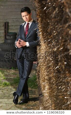 Przypadkowy człowiek stwarzające stóg siana młodych zewnątrz Zdjęcia stock © feedough