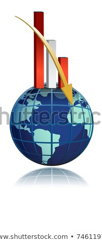 global business falling bar graph over the globe Stock photo © alexmillos