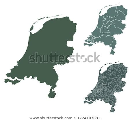 Verde Holanda mapa administrativo reino cidade Foto stock © Volina