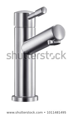 Błyszczący ze stali nierdzewnej kran chrom kran biuro Zdjęcia stock © Kirill_M