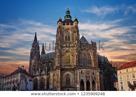 Szent katedrális részlet lenyűgöző homlokzat Prága Stock fotó © FER737NG
