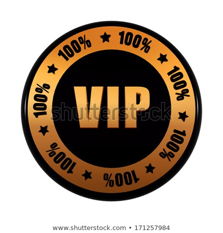VIP 100 percentages in golden black circle label Stock photo © marinini