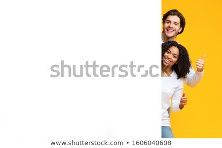 bela · mulher · olhando · clipboard · belo · mulher · jovem - foto stock © stockyimages