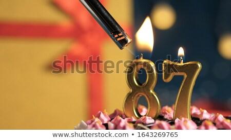 dezesseis · colorido · número · velas · chama - foto stock © zerbor