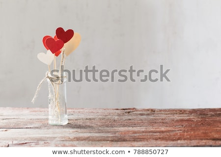Stock photo: Paper heart on wood background