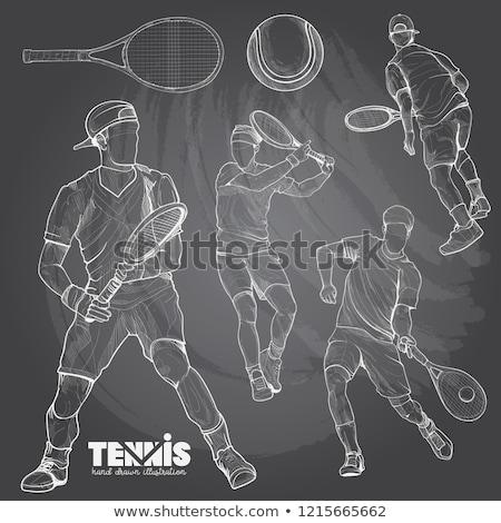csinos · teniszező · kész · napos · idő · sport · fitnessz - stock fotó © candyboxphoto