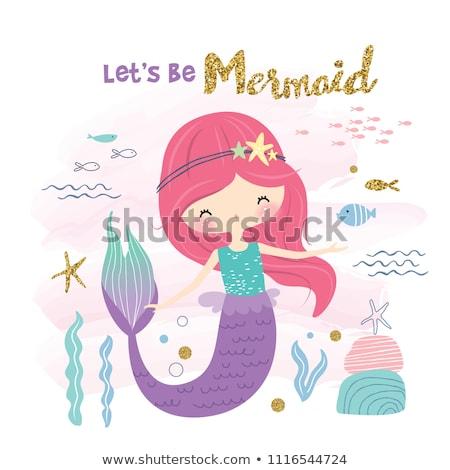 Küçük deniz kızı kız altın balık gökyüzü Stok fotoğraf © carodi