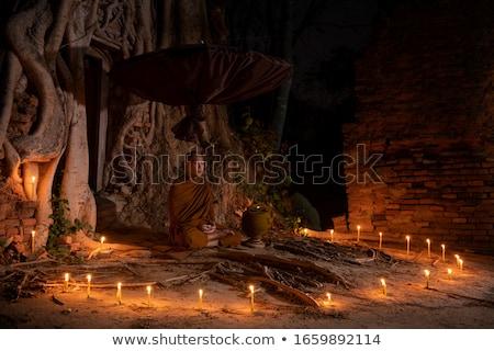 buddhista · férfi · imádkozik · templom · istentisztelet · egyedül - stock fotó © anbuch