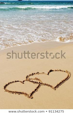 Paar tekening harten nat zand strand Stockfoto © Nejron