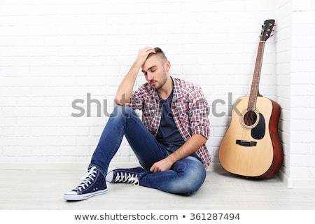Smutne piosenka piosenkarka cartoon kobieta łzy Zdjęcia stock © blamb