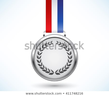Silver medal with tricolor ribbon Stock photo © liliwhite