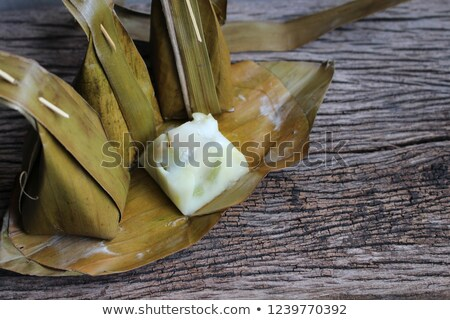 Párolt liszt kókusz tömés fa asztal stock Stock fotó © punsayaporn