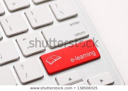 Online oktatás piros billentyűzet gomb belépés fekete Stock fotó © tashatuvango