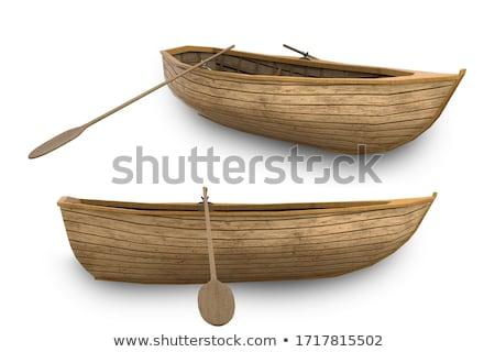 Houten roeien boot illustratie hout zee Stockfoto © Slobelix