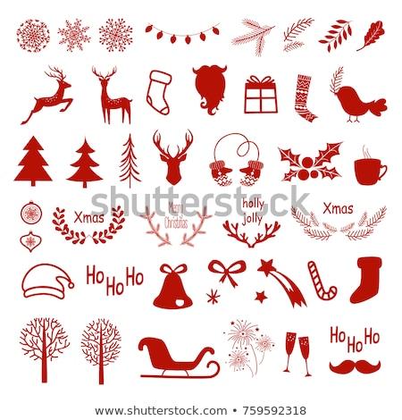 karácsony · piros · hópelyhek · minta · vektor · nő - stock fotó © kariiika