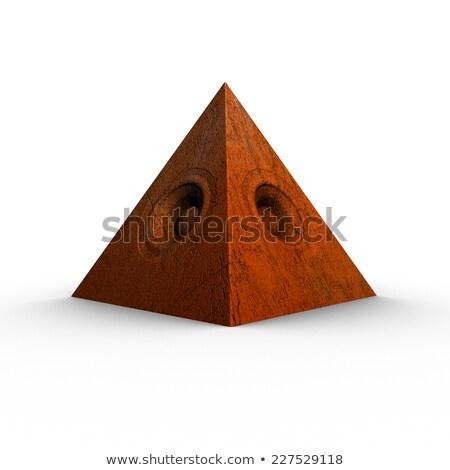 3d red orange pyramid grunge old speaker sound system  Stock photo © Melvin07