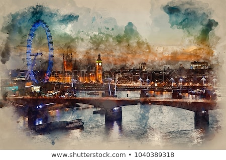 South Bank of the River Thames and London Skyline in the Evening Stock photo © anshar