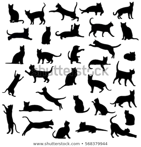 sziluett · fekete · macska · művészet · állatok · fehér · karácsony - stock fotó © istanbul2009