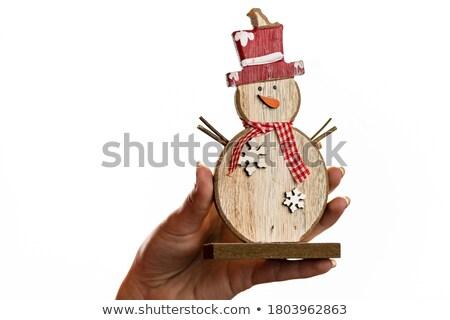 Kardan adam süs seramik dekorasyon sunmak Noel Stok fotoğraf © jeliva