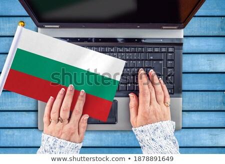 Mãos trabalhando laptop Bulgária tela Foto stock © michaklootwijk