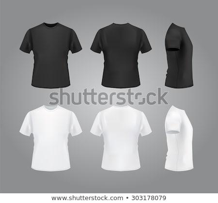 férfi · póló · hirdetés · terv · mutat · kéz - stock fotó © dolgachov