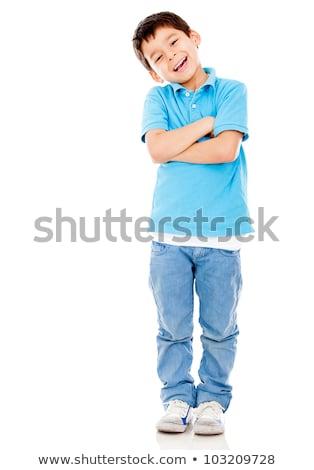 Genç koyu esmer erkek beyaz yakışıklı yalıtılmış Stok fotoğraf © feverpitch