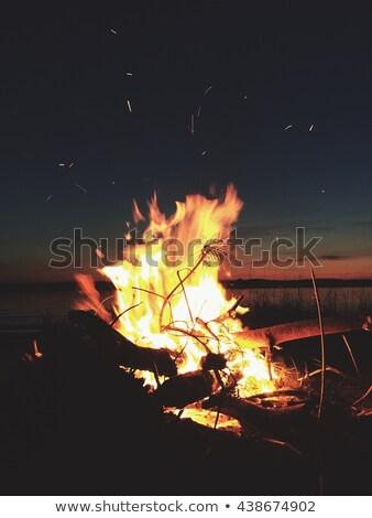 Hoguera puesta de sol lago vuelo Foto stock © Mps197