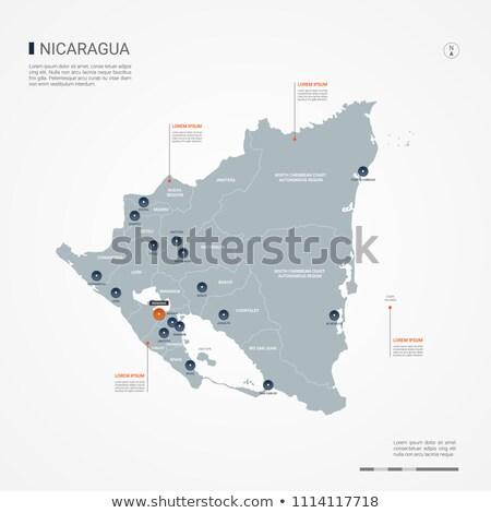 orange button with the image maps of nicaragua stock photo © mayboro