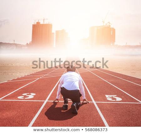 hombre · de · negocios · listo · inicio · posición · ejecutar - foto stock © dotshock
