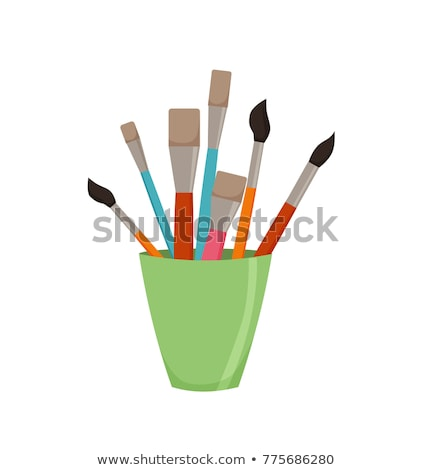 pencil illustration with brushes in a glass Stock photo © artibelka