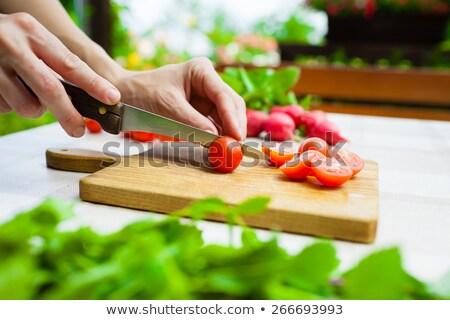 Sliced Veggies Prepared on Cutting Board for Salad Stock photo © ozgur