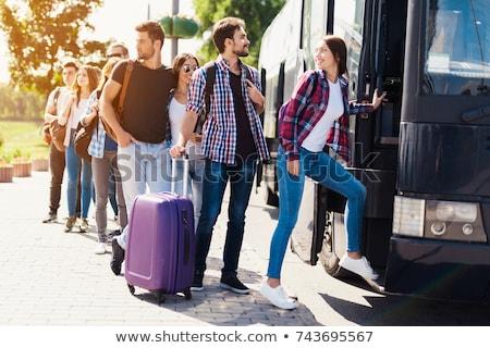 blanco · autobús · pasajeros · entrenador · parada · de · autobús · verano - foto stock © tainasohlman
